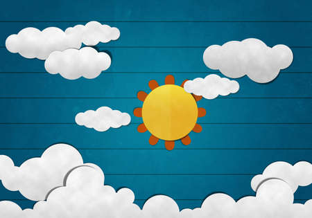 sumer: Paper Cutting,  Big sun and Cloud on Wooden Background