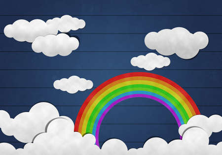 papaer: Paper Cutting,  Rainbow  and Cloud on Wooden Background