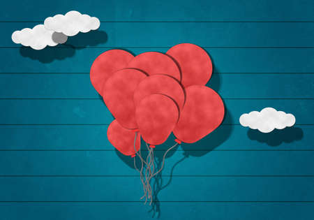 Paper Cutting, Colorful Balloon on Wooden Background photo