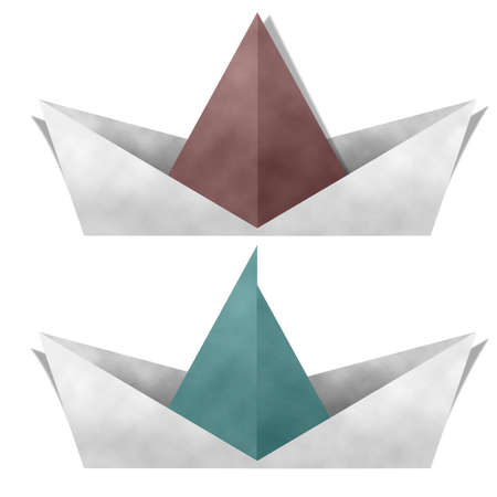 Paper Boat Isolated on White Background photo