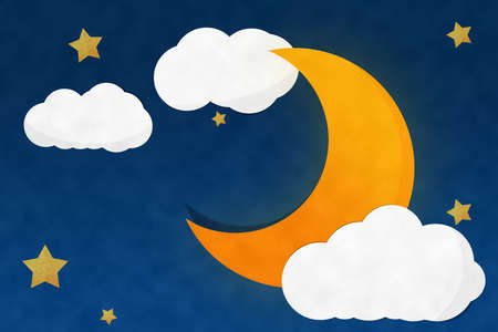 Crescent Moon Night and Strarry Stock Photo