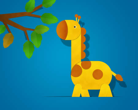 Giraffe Paper Clipart isolated on Blue Background photo