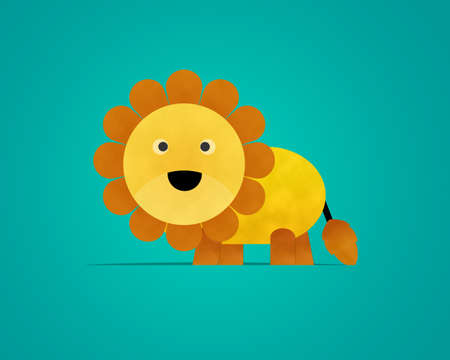 Lion Paper Clipart isolated on Blue Background photo