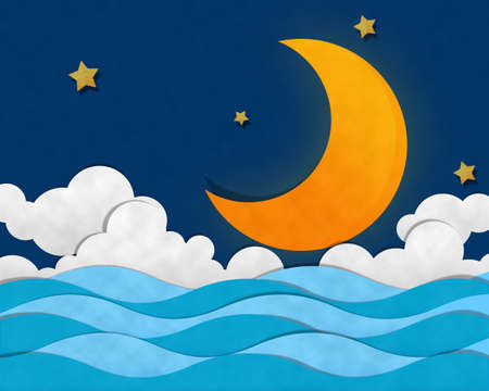 Crescent Moon op zee in de nacht