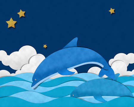 Dolfijn op zee in de nacht
