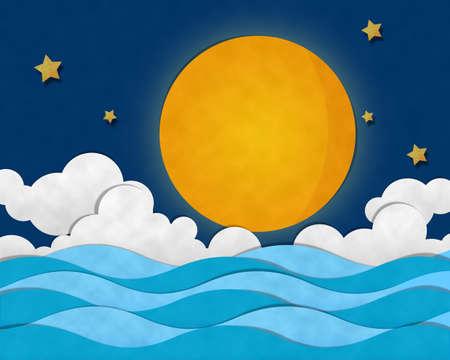 Volle maan op zee in de nacht Stockfoto