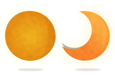moon shadow: Moon on White Background, Paper Art Stock Photo