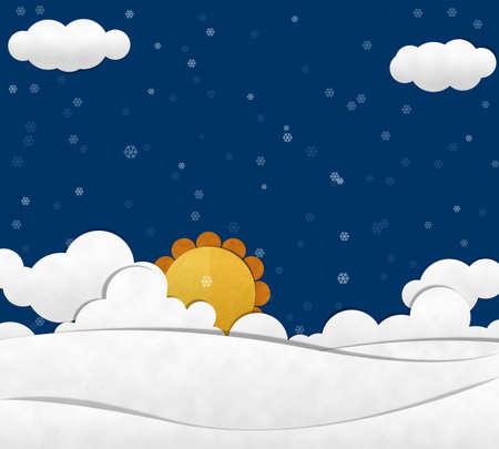 Snow and Cloud Sky, Paper cut Reklamní fotografie