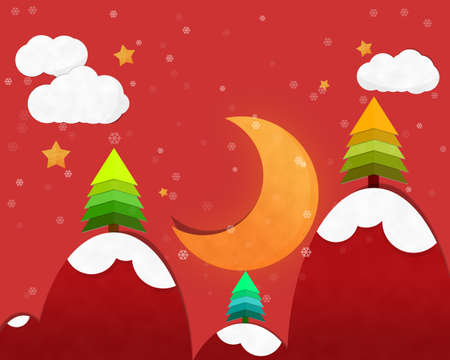 crescent moon: Crescent Moon in Chrismas Night and Pine tree