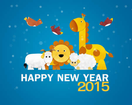 Happy New Year Greeting Card, Zoo photo