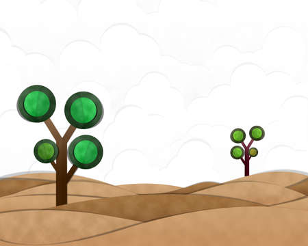 desert landscape: Desert Landscape Cutting Paste Paper