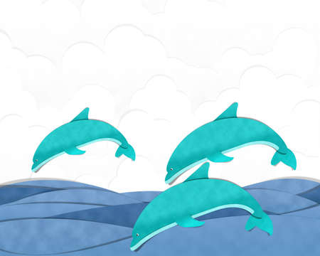 dolphin jumping: Dolphin Jumping Cutting Paste Paper Archivio Fotografico