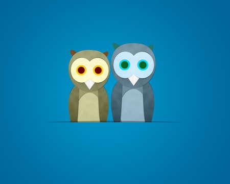 owl family: Owl family,  Cutting Paste paper Stock Photo