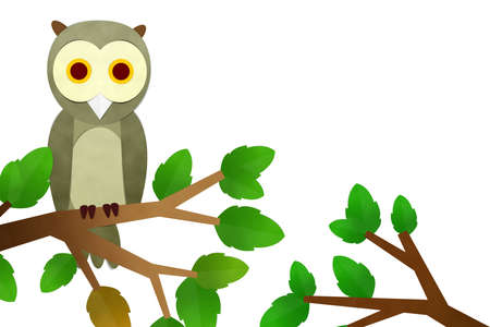 boom kappen: Owl On tree, Cutting paste paper
