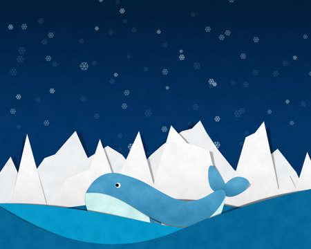Iceberg Cutting paste paper Background on Night sky. Фото со стока