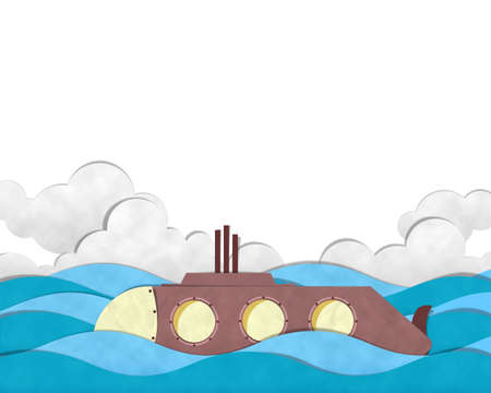 periscope: Submarine Cutting paste paper at Blue Sea. Stock Photo