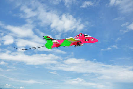 toy plane: Colorfull Toy plane Flying on Sky. Stock Photo