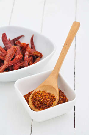 cayenne: cayenne pepper on white dish.