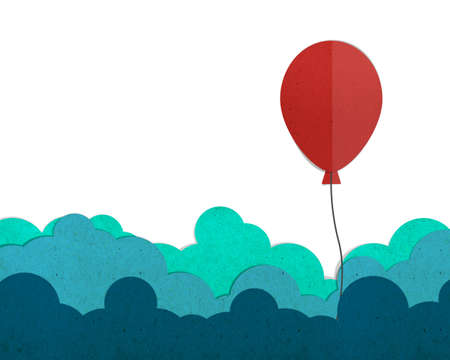 red balloon: red balloon flying on a cloud, paper cut and paste.