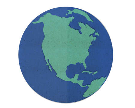 blue earth map, paper cut and paste.