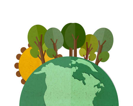 cut and paste: Green Earth, paper cut and paste.