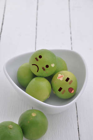 sorrowfully: Lime in Expression Face comic, comic art. Stock Photo