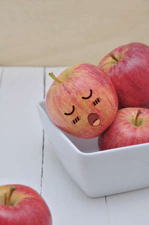 countenance: Apple in Asleep Expression Face, comic art.