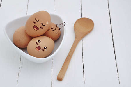 countenance: Eggs in Expression Face comic, comic art. Stock Photo
