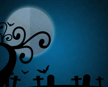 cut and paste: Full moon blue Night in Halloween day at graveyard, Paper cut and paste. Stock Photo