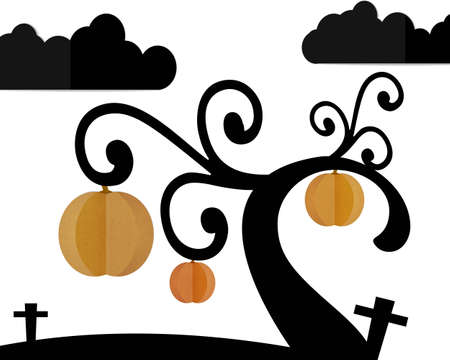 pumpkin tree in graveyard and night sky, Halloween paper cut and paste.