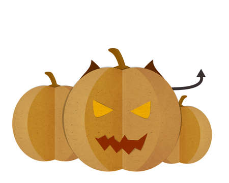 cut and paste: Pumpkin devil Isolated on White Background, Paper cut and paste.