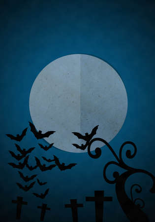 churchyard: Full moon blue Night in Halloween day at graveyard, Paper cut and paste. Stock Photo