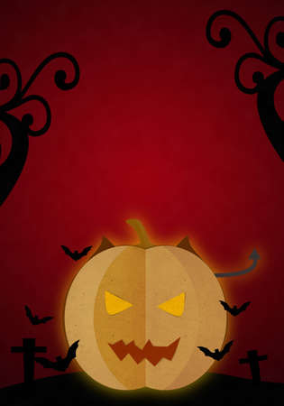 cut and paste: Pumpkin devil in Halloween red night, Paper cut and paste.
