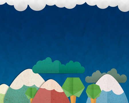 paloma caricatura: Forest Hill y colorido de la monta�a sobre fondo de cielo azul. Foto de archivo