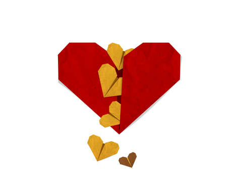 Small yeallow heart s falling from red heart, Valentine day greeting card.