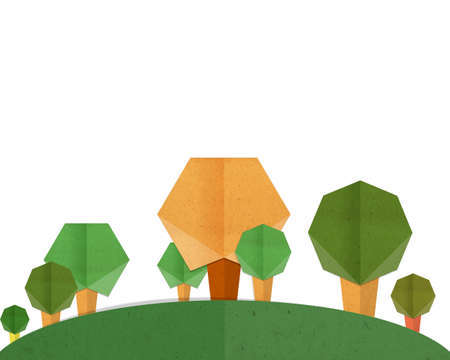 cut and paste: trees with mountain paper cut and paste background. Stock Photo