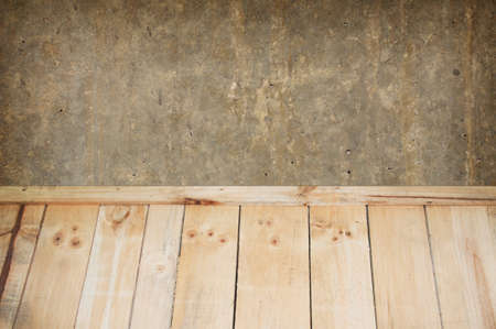wooden floors: Wooden floors battens with cement background, View from above wooden floors.