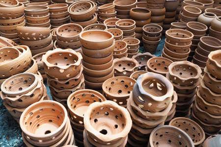 hardened: Group of terracotta flower pot. Flower Pots for planting trees