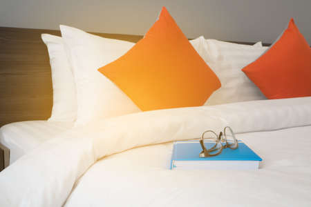 stateroom: white bed with modern glasses on blue book at bed room.