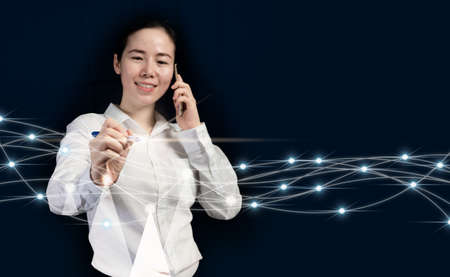 Businesswoman  using phone and signature approved on virtual screen interface.