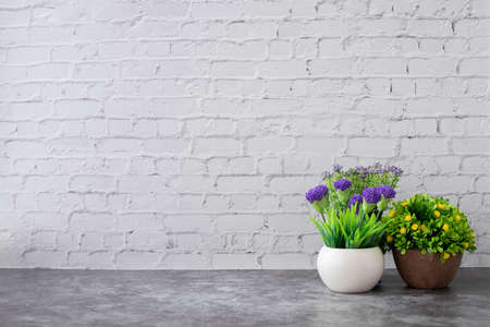 dried plant pot on white brick wall texture background, copy space.
