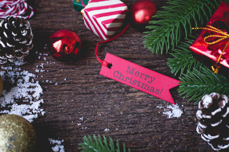 Close up Christmas Decorations  on wooden table, view from above. Stock fotó