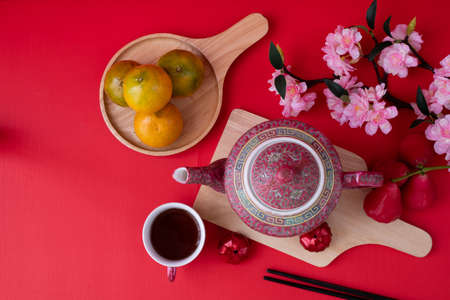 Top view on Chinese new year background with copy space. Stock fotó