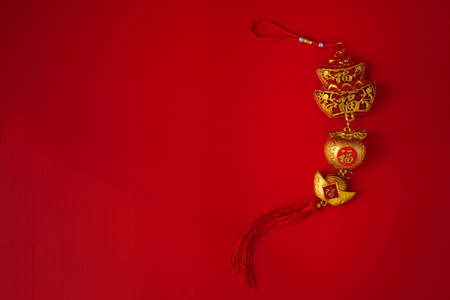 Chinese new year Decoration on red background. Stock fotó