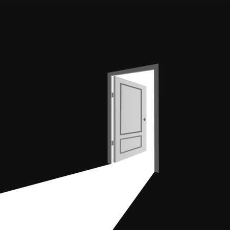 Open door from darkness to light