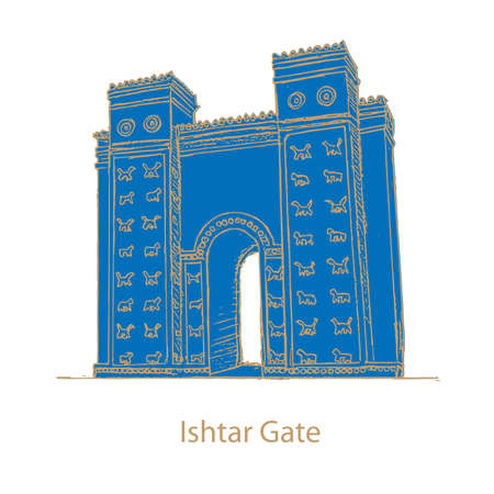 Babylon Ishtar Gate in babil-Iraq 写真素材 - 104179086