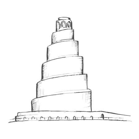 Minaret of Samarra, Great Mosque of Samarra Iraq Stock Illustratie