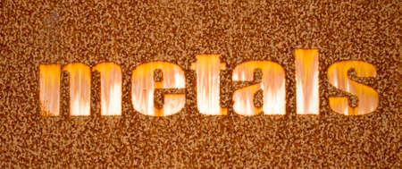 A rusty sign made from iron Stock Photo
