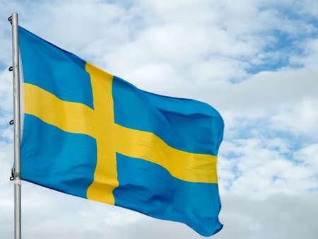 The national flag of Sweden