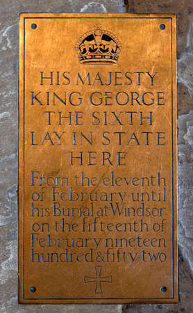 Brass Plaque commemorating lying in state of George VI